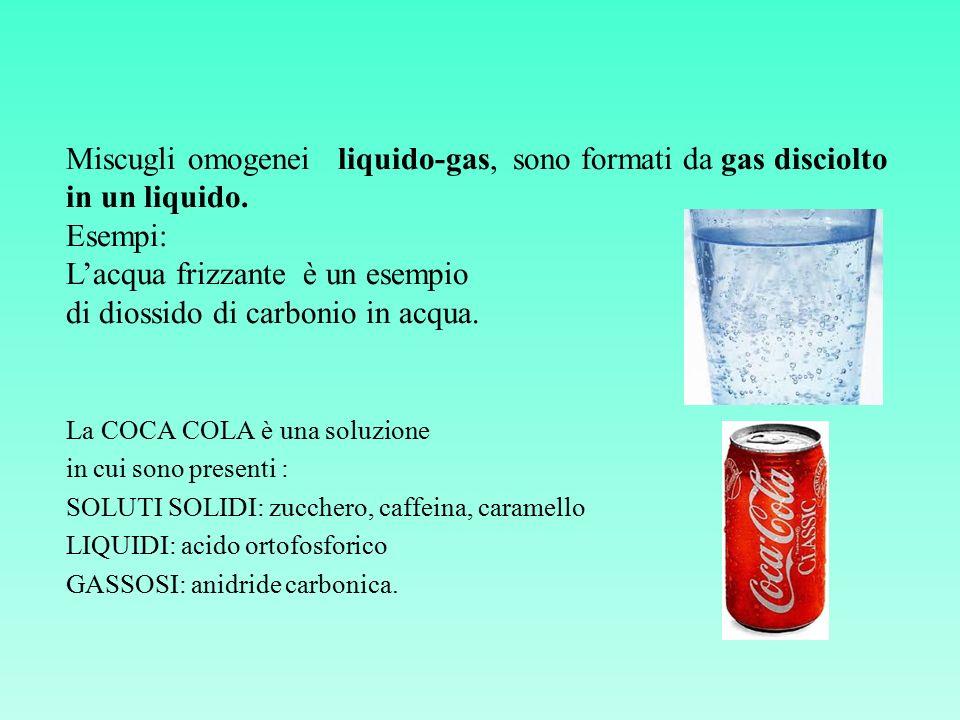 Miscugli omogenei liquido-gas, sono formati da gas disciolto in un liquido. Esempi: L'acqua frizzante è un esempio di diossido di carbonio in acqua. L