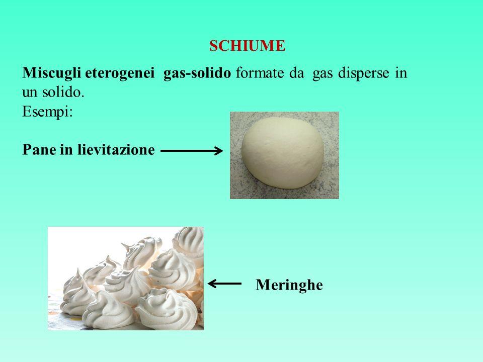 SCHIUME Miscugli eterogenei gas-solido formate da gas disperse in un solido. Esempi: Pane in lievitazione Meringhe