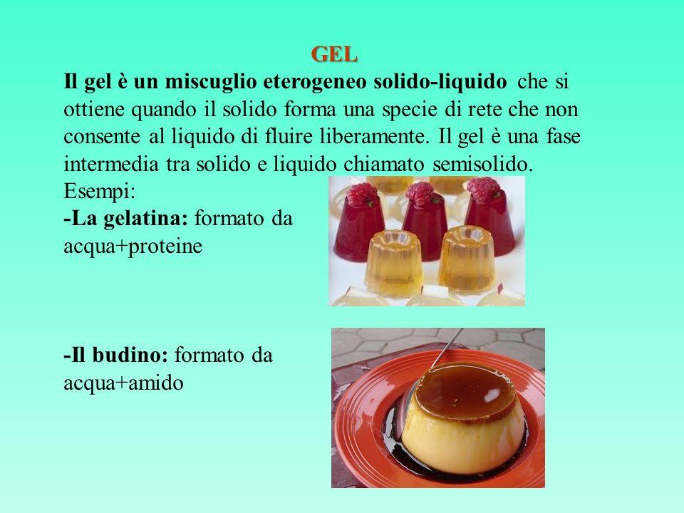 GEL GEL Il gel è un miscuglio eterogeneo solido-liquido che si ottiene quando il solido forma una specie di rete che non consente al liquido di fluire