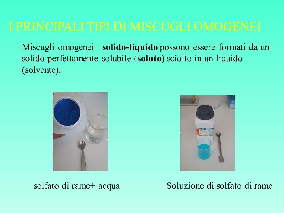 I PRINCIPALI TIPI DI MISCUGLI OMOGENEI Miscugli omogenei solido-liquido possono essere formati da un solido perfettamente solubile (soluto) sciolto in