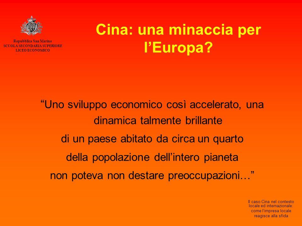 Repubblica San Marino SCUOLA SECONDARIA SUPERIORE LICEO ECONOMICO Il caso Cina nel contesto locale ed internazionale: come l'impresa locale reagisce alla sfida Cina: una minaccia per l'Europa.