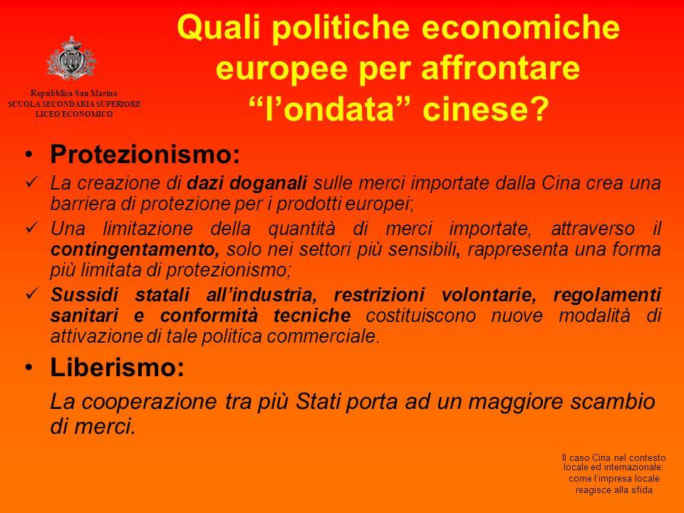 Repubblica San Marino SCUOLA SECONDARIA SUPERIORE LICEO ECONOMICO Il caso Cina nel contesto locale ed internazionale: come l'impresa locale reagisce alla sfida Quali politiche economiche europee per affrontare l'ondata cinese.