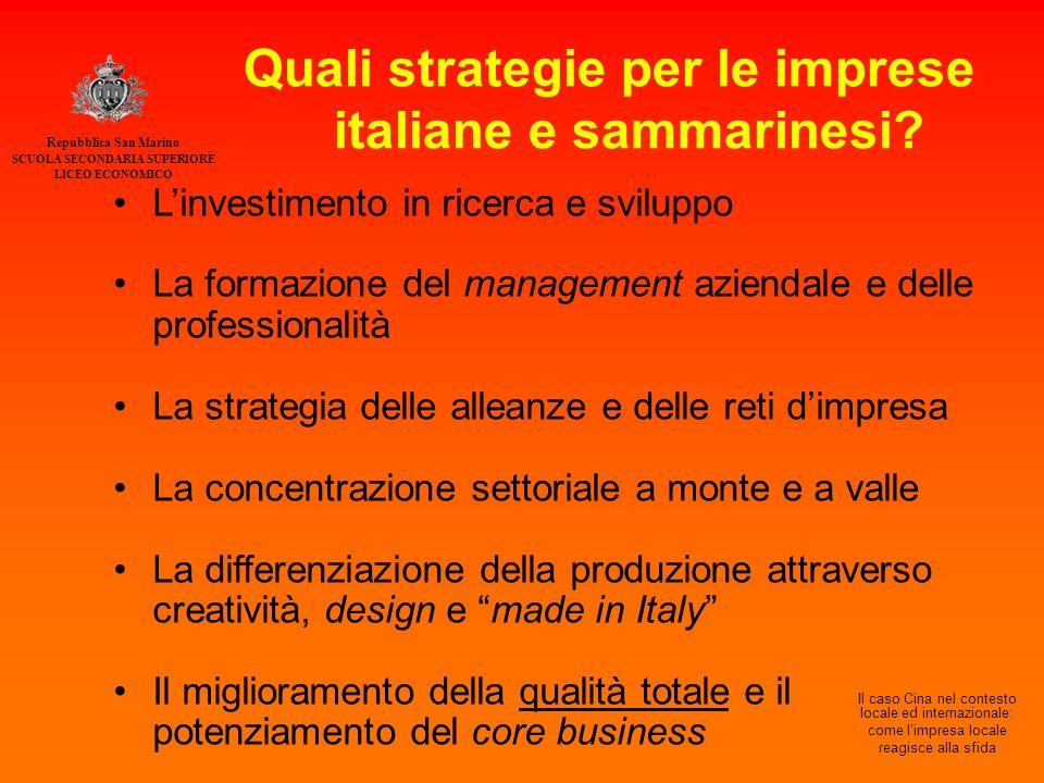 Quali strategie per le imprese italiane e sammarinesi.