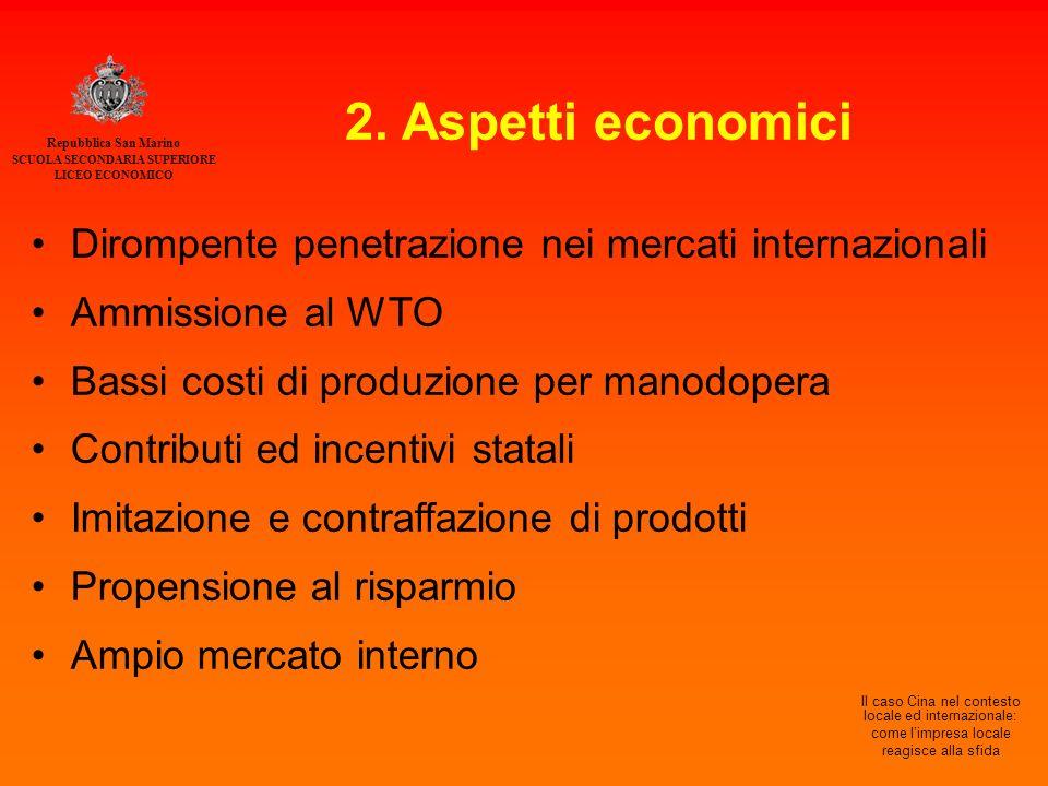 Repubblica San Marino SCUOLA SECONDARIA SUPERIORE LICEO ECONOMICO Il caso Cina nel contesto locale ed internazionale: come l'impresa locale reagisce alla sfida 2.
