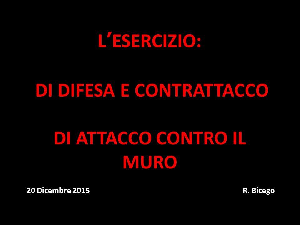 L'ESERCIZIO: DI DIFESA E CONTRATTACCO DI ATTACCO CONTRO IL MURO 20 Dicembre 2015 R. Bicego