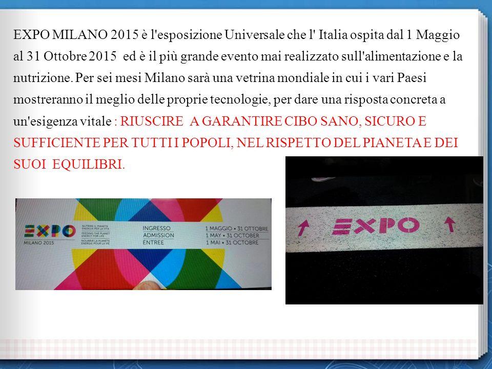 EXPO MILANO 2015 è l esposizione Universale che l Italia ospita dal 1 Maggio al 31 Ottobre 2015 ed è il più grande evento mai realizzato sull alimentazione e la nutrizione.