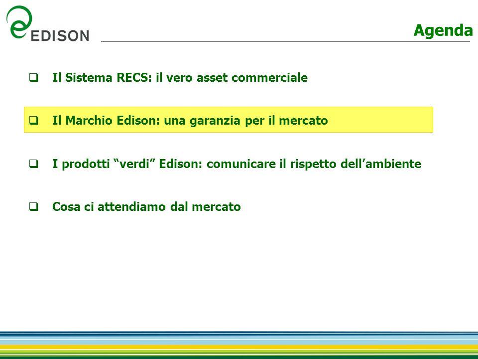  Il Sistema RECS: il vero asset commerciale  Il Marchio Edison: una garanzia per il mercato  I prodotti verdi Edison: comunicare il rispetto dell'ambiente  Cosa ci attendiamo dal mercato Agenda
