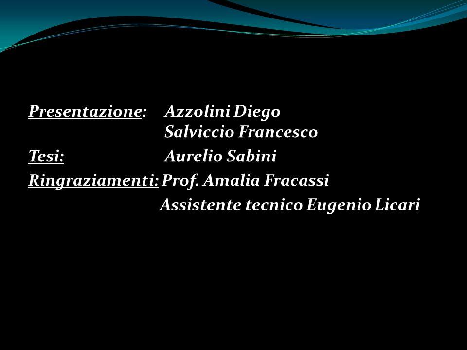 Presentazione: Azzolini Diego Salviccio Francesco Tesi: Aurelio Sabini Ringraziamenti: Prof.