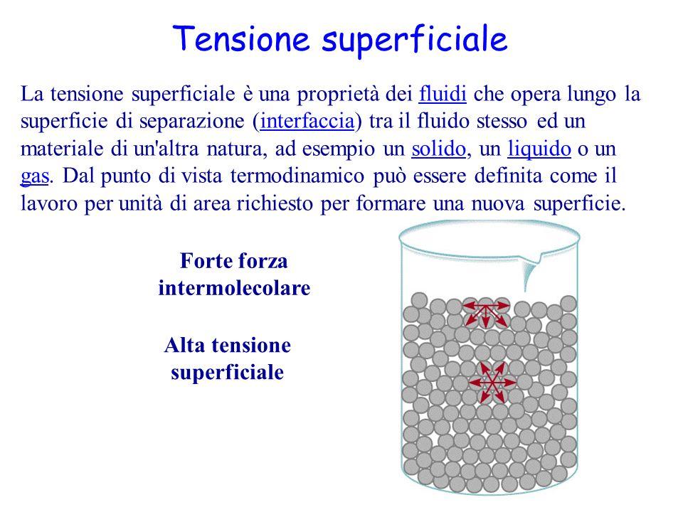 Proprietà dei Liquidi Le azioni attrattive tra le molecole di un liquido (le forze di coesione) fanno sì che le molecole dello strato superficiale siano soggette ad una forza risultante non nulla che tende a farle spostare verso l interno; esse pertanto tendono a sfuggire dalla superficie limite del liquido e di conseguenza questa tende ad assumere l'estensione minima possibile (in assenza di altre forze, la superficie minima, è quella sferica).molecole Coesione