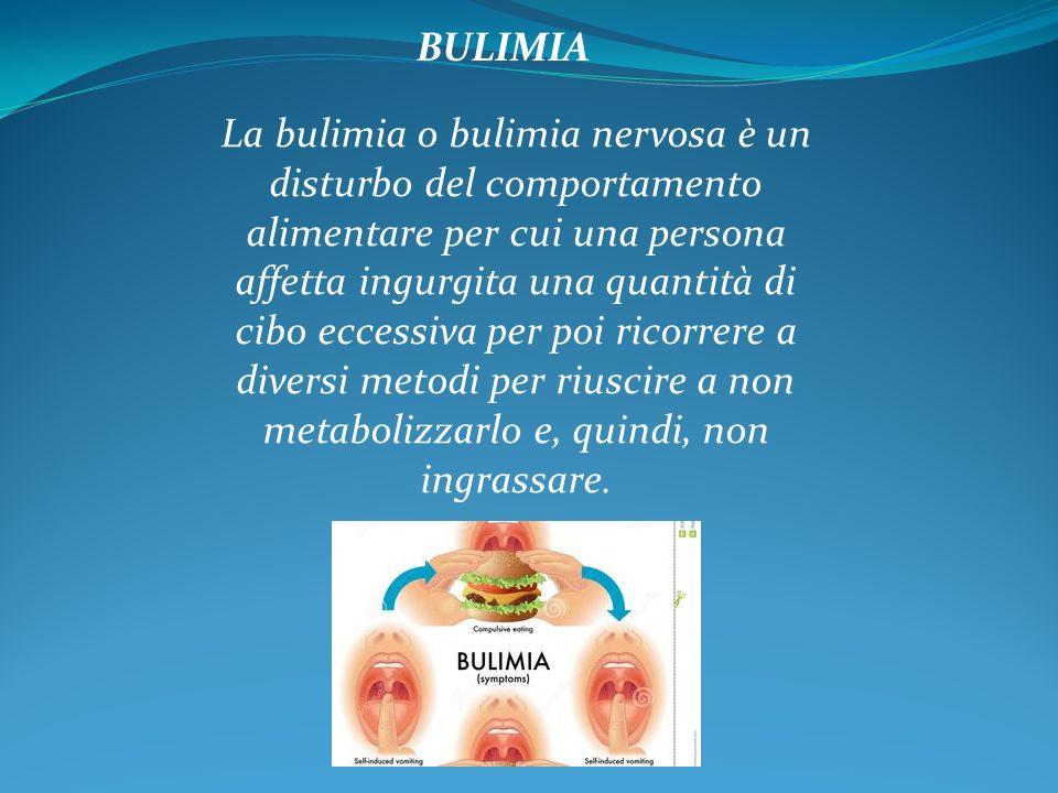 La bulimia o bulimia nervosa è un disturbo del comportamento alimentare per cui una persona affetta ingurgita una quantità di cibo eccessiva per poi ricorrere a diversi metodi per riuscire a non metabolizzarlo e, quindi, non ingrassare.