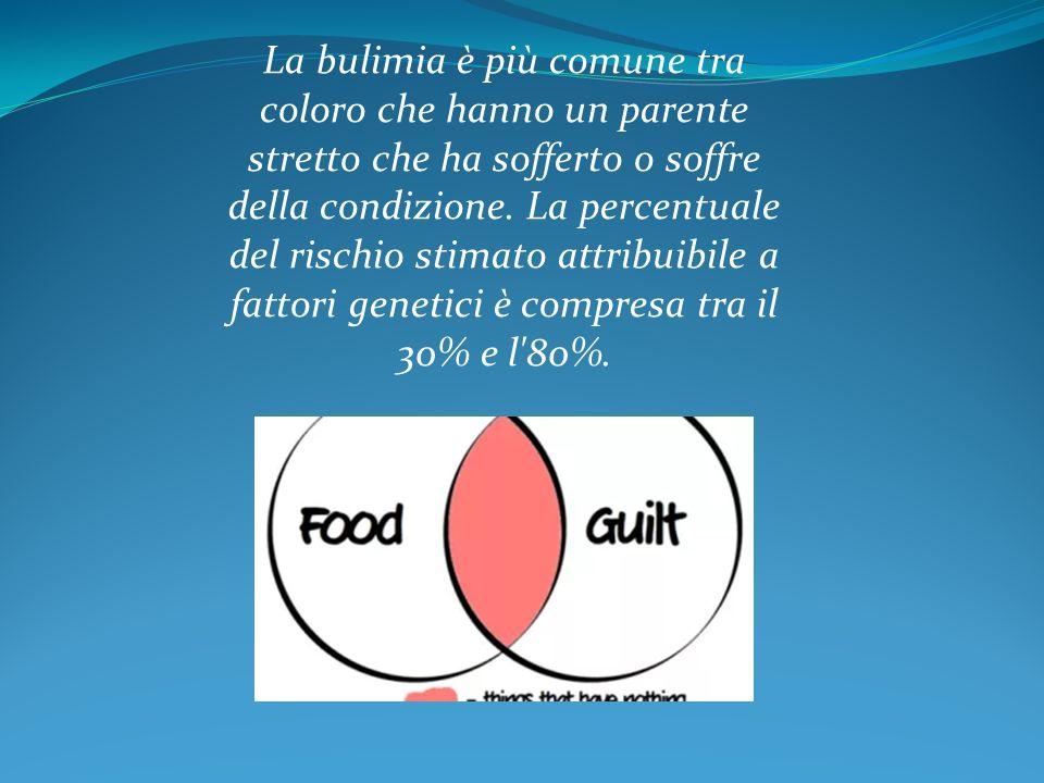 La bulimia è più comune tra coloro che hanno un parente stretto che ha sofferto o soffre della condizione.
