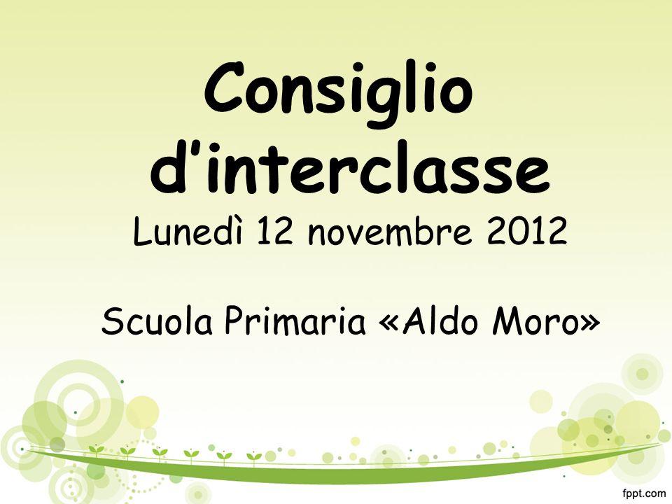 Consiglio d'interclasse Lunedì 12 novembre 2012 Scuola Primaria «Aldo Moro»