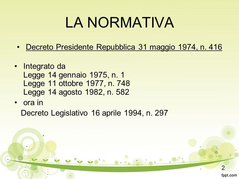 LA NORMATIVA Decreto Presidente Repubblica 31 maggio 1974, n.