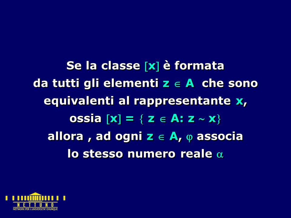 Se la classe x è formata da tutti gli elementi z  A che sono equivalenti al rappresentante x, ossia x =  z  A: z  x allora, ad ogni z  A,  associa lo stesso numero reale  Se la classe x è formata da tutti gli elementi z  A che sono equivalenti al rappresentante x, ossia x =  z  A: z  x allora, ad ogni z  A,  associa lo stesso numero reale 