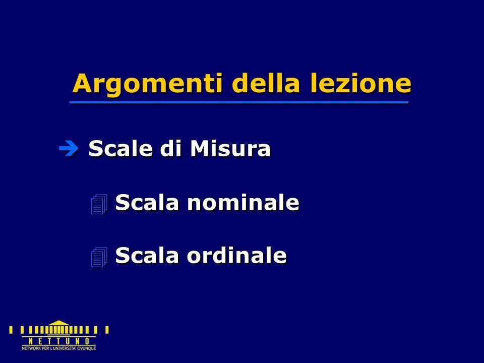  Scale di Misura 4Scala nominale 4Scala ordinale Argomenti della lezione