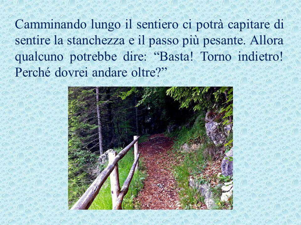 Camminando lungo il sentiero ci potrà capitare di sentire la stanchezza e il passo più pesante.