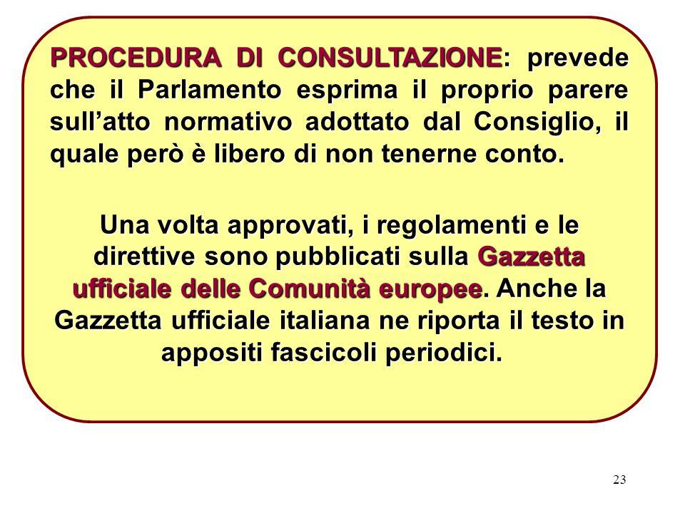 23 PROCEDURA DI CONSULTAZIONE: prevede che il Parlamento esprima il proprio parere sull'atto normativo adottato dal Consiglio, il quale però è libero di non tenerne conto.