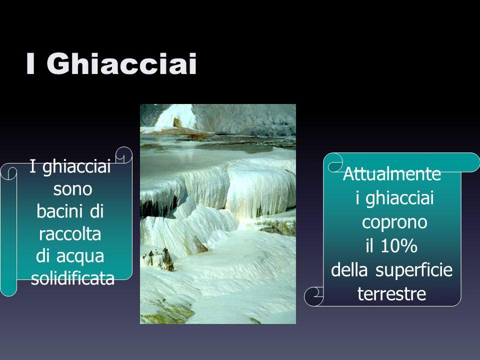 I Ghiacciai I ghiacciai sono bacini di raccolta di acqua solidificata Attualmente i ghiacciai coprono il 10% della superficie terrestre
