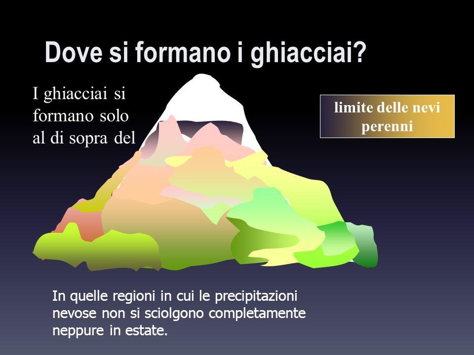 Dove si formano i ghiacciai? In quelle regioni in cui le precipitazioni nevose non si sciolgono completamente neppure in estate. limite delle nevi per
