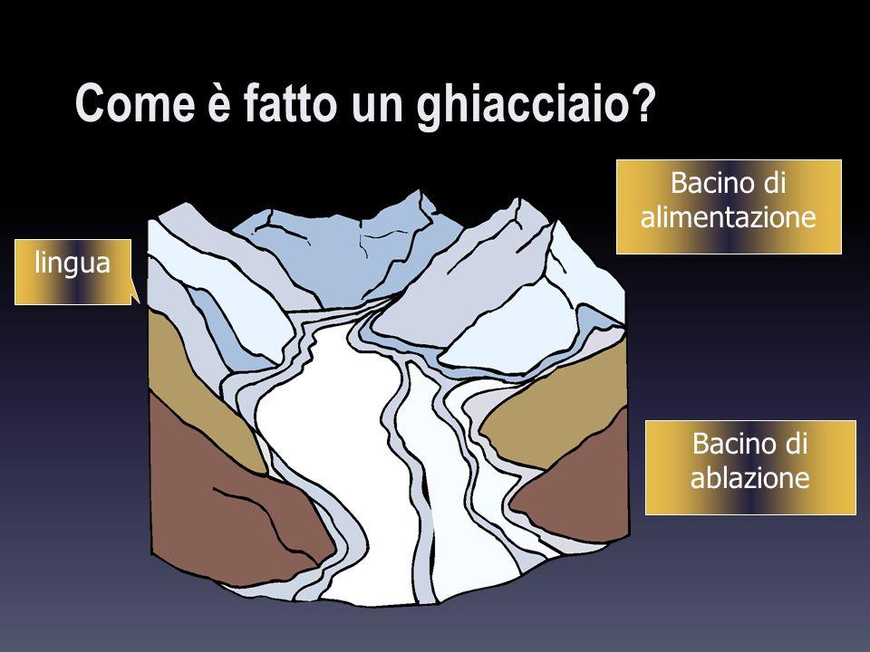 accumulo di neve: bacino collettore limite inferiore:limite delle nevi persistenti zona di ablazione: ghiaccio fuso, sublimato o crollato (valanghe) fronte: parte terminale verso il basso lingue glaciali che scendono dal Gornergletscher (Alpi Svizzere), il ghiacciaio è una roccia è una massa in movimento movimento di un fluido molto viscoso maggiore lo spessore del ghiacciaio, e inclinata la superficie di scorrimento, tanto più veloce questo scivolerà lungo il pendio.