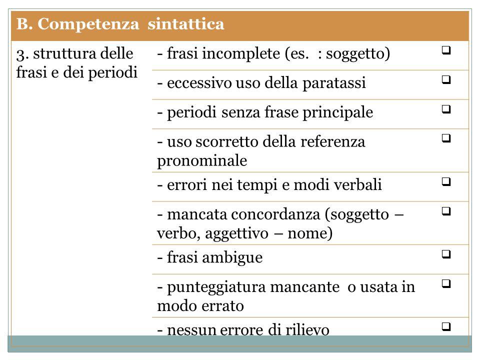 B. Competenza sintattica 3. struttura delle frasi e dei periodi - frasi incomplete (es.