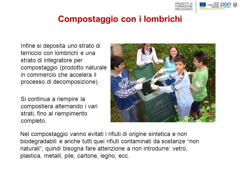 Infine si deposita uno strato di terriccio con lombrichi e una strato di integratore per compostaggio (prodotto naturale in commercio che accelera il processo di decomposizione).