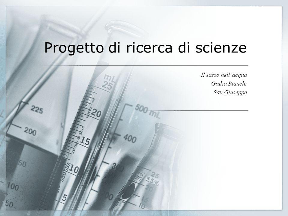 Eccezionale Progetto di ricerca di scienze Il sasso nell'acqua Giulia Bianchi  RP63