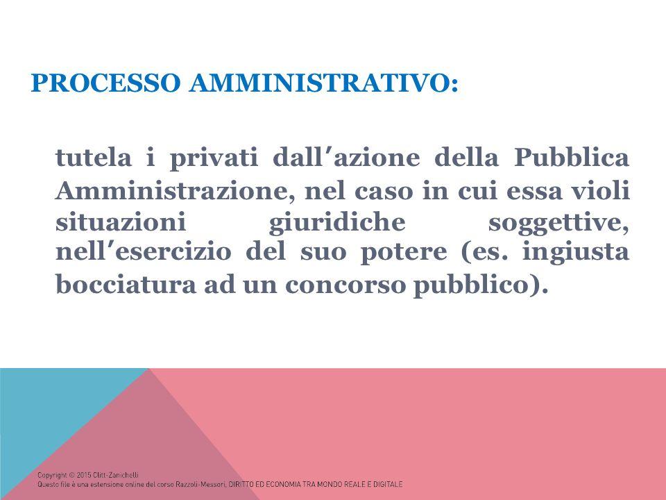 PROCESSO AMMINISTRATIVO: tutela i privati dall'azione della Pubblica Amministrazione, nel caso in cui essa violi situazioni giuridiche soggettive, nell'esercizio del suo potere (es.