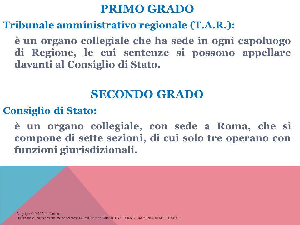 PRIMO GRADO Tribunale amministrativo regionale (T.A.R.): è un organo collegiale che ha sede in ogni capoluogo di Regione, le cui sentenze si possono appellare davanti al Consiglio di Stato.