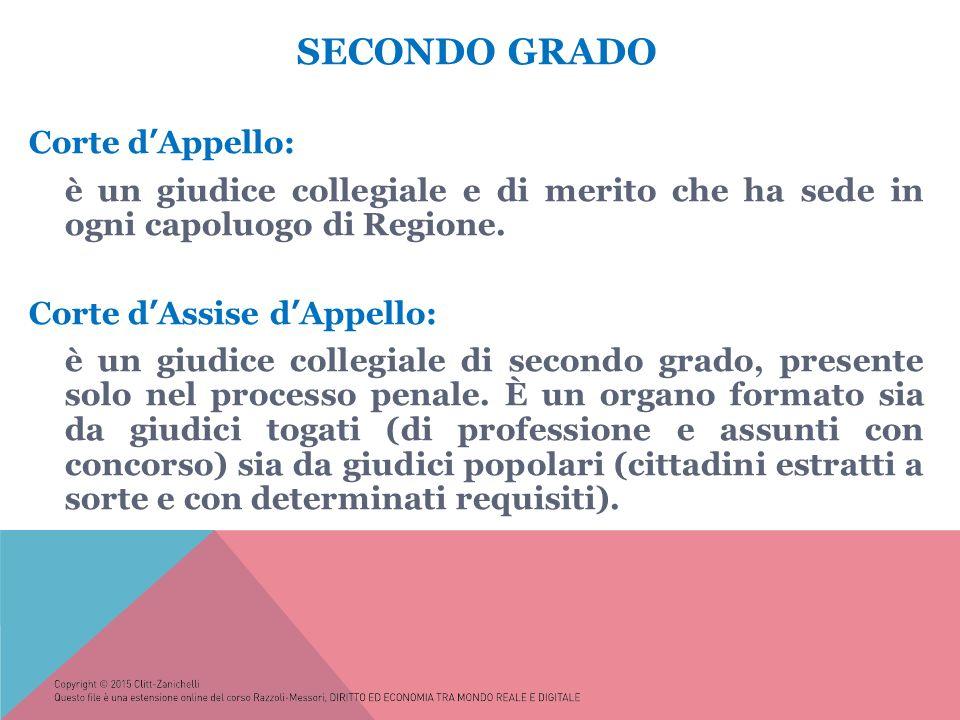 SECONDO GRADO Corte d'Appello: è un giudice collegiale e di merito che ha sede in ogni capoluogo di Regione.