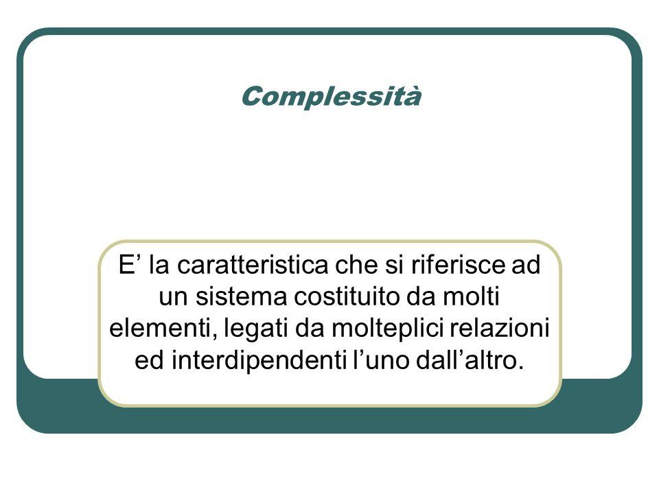 Complessità E' la caratteristica che si riferisce ad un sistema costituito da molti elementi, legati da molteplici relazioni ed interdipendenti l'uno dall'altro.