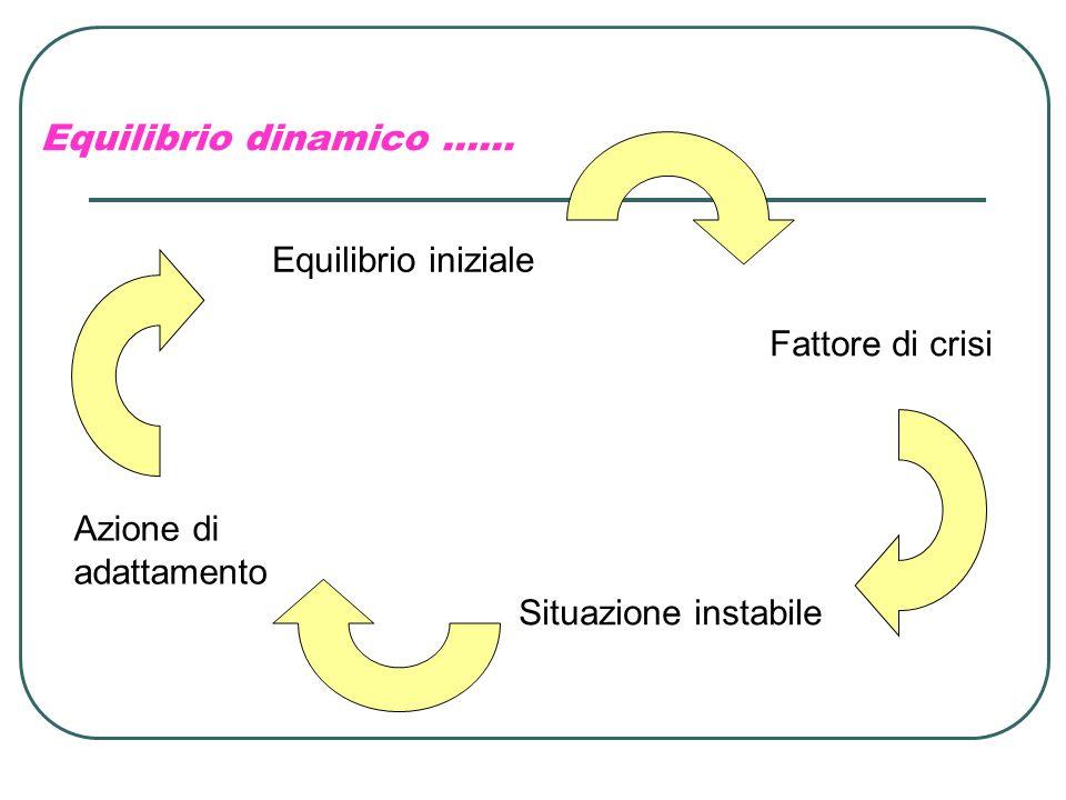 Equilibrio dinamico …… Equilibrio iniziale Fattore di crisi Situazione instabile Azione di adattamento
