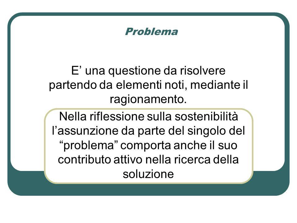 Problema E' una questione da risolvere partendo da elementi noti, mediante il ragionamento.