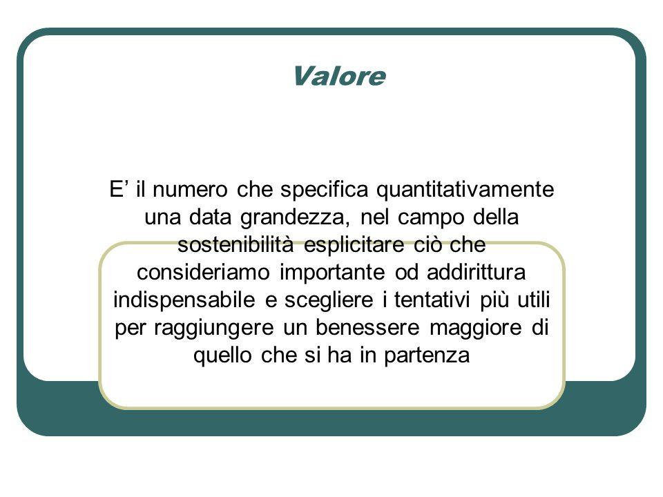 Valore E' il numero che specifica quantitativamente una data grandezza, nel campo della sostenibilità esplicitare ciò che consideriamo importante od addirittura indispensabile e scegliere i tentativi più utili per raggiungere un benessere maggiore di quello che si ha in partenza