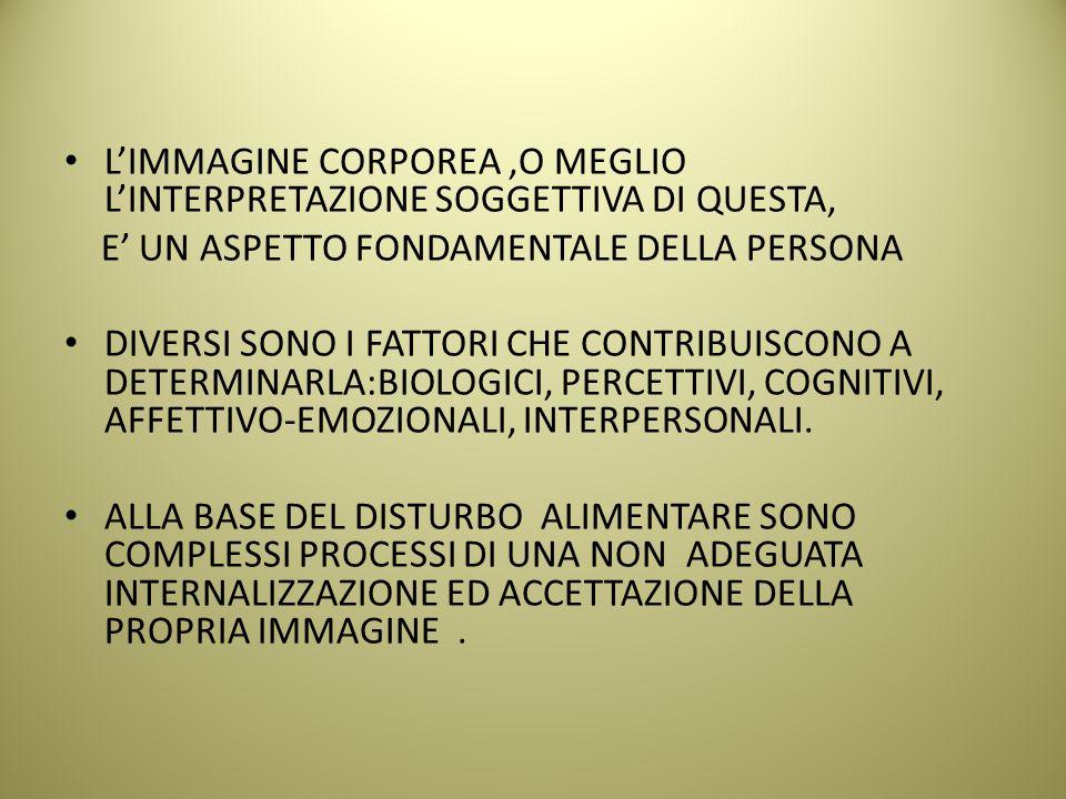 L'IMMAGINE CORPOREA,O MEGLIO L'INTERPRETAZIONE SOGGETTIVA DI QUESTA, E' UN ASPETTO FONDAMENTALE DELLA PERSONA DIVERSI SONO I FATTORI CHE CONTRIBUISCONO A DETERMINARLA:BIOLOGICI, PERCETTIVI, COGNITIVI, AFFETTIVO-EMOZIONALI, INTERPERSONALI.
