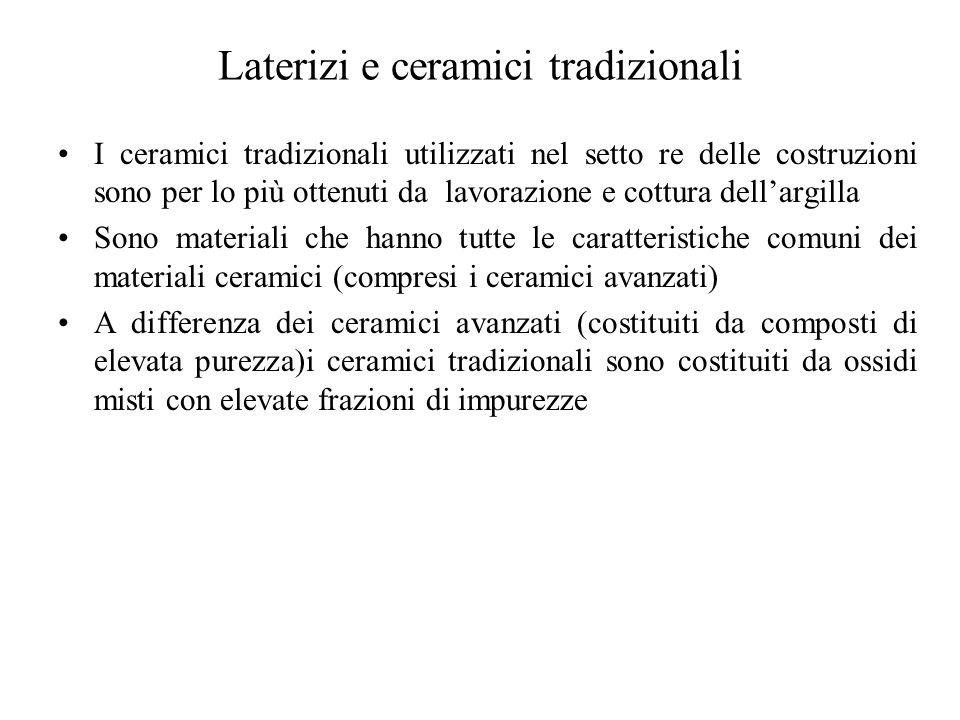 Laterizi e ceramici tradizionali I ceramici tradizionali utilizzati nel setto re delle costruzioni sono per lo più ottenuti da lavorazione e cottura dell'argilla Sono materiali che hanno tutte le caratteristiche comuni dei materiali ceramici (compresi i ceramici avanzati) A differenza dei ceramici avanzati (costituiti da composti di elevata purezza)i ceramici tradizionali sono costituiti da ossidi misti con elevate frazioni di impurezze