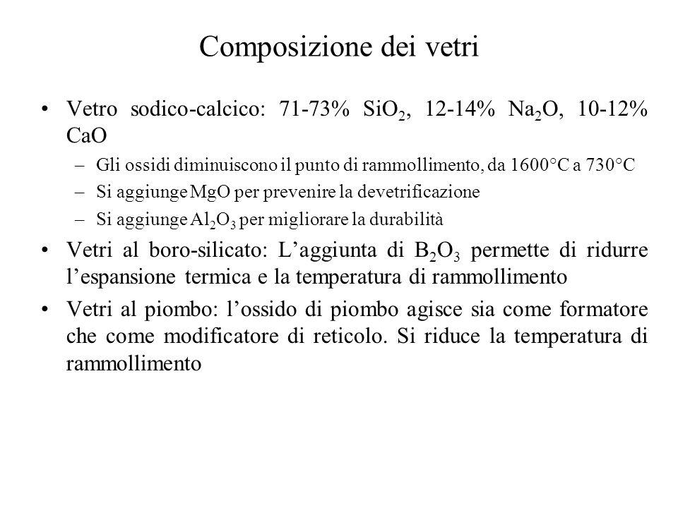 Composizione dei vetri Vetro sodico-calcico: 71-73% SiO 2, 12-14% Na 2 O, 10-12% CaO –Gli ossidi diminuiscono il punto di rammollimento, da 1600°C a 730°C –Si aggiunge MgO per prevenire la devetrificazione –Si aggiunge Al 2 O 3 per migliorare la durabilità Vetri al boro-silicato: L'aggiunta di B 2 O 3 permette di ridurre l'espansione termica e la temperatura di rammollimento Vetri al piombo: l'ossido di piombo agisce sia come formatore che come modificatore di reticolo.