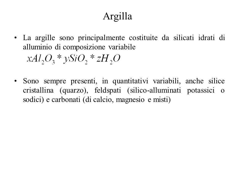 Argilla La argille sono principalmente costituite da silicati idrati di alluminio di composizione variabile Sono sempre presenti, in quantitativi variabili, anche silice cristallina (quarzo), feldspati (silico-alluminati potassici o sodici) e carbonati (di calcio, magnesio e misti)