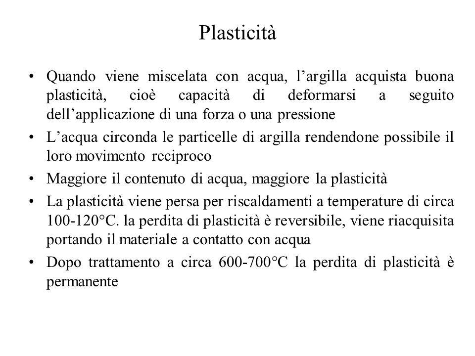 Vetri I vetri sono i più importanti materiali ceramici non cristallini Un vetro è dal punto di vista termodinamico simile ad un liquido sottoraffreddato Se però la temperatura è portata al di sotto della temperatura di transizione vetrosa la tendenza a formare cristalli scompare I vetri più comuni sono formati da silice amorfa La silice cristallina si ottiene per raffreddamenti lenti Per ottenere un vetro, si deve raffreddare in maniera abbastanza rapida temperatura Volume specifico (cm3/g) A Liquido sottoraffreddato vetro Solido cristallino Ritiro da cristallizzazione (transizione del I ordine) TmTm TgTg Variazione del CTE (transizione del II ordine) liquido D B C cristallovetro