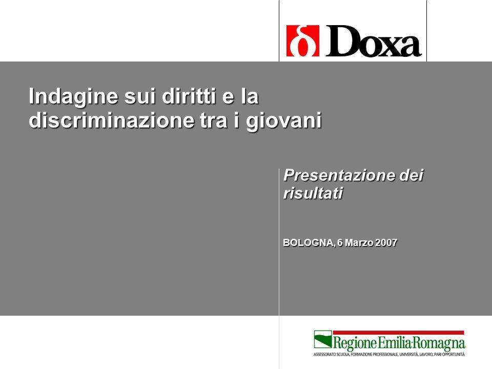Indagine sui diritti e la discriminazione tra i giovani Presentazione dei risultati BOLOGNA, 6 Marzo 2007