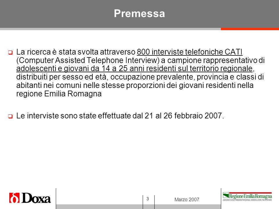 3 Marzo 2007 Premessa  La ricerca è stata svolta attraverso 800 interviste telefoniche CATI (Computer Assisted Telephone Interview) a campione rappresentativo di adolescenti e giovani da 14 a 25 anni residenti sul territorio regionale, distribuiti per sesso ed età, occupazione prevalente, provincia e classi di abitanti nei comuni nelle stesse proporzioni dei giovani residenti nella regione Emilia Romagna  Le interviste sono state effettuate dal 21 al 26 febbraio 2007.