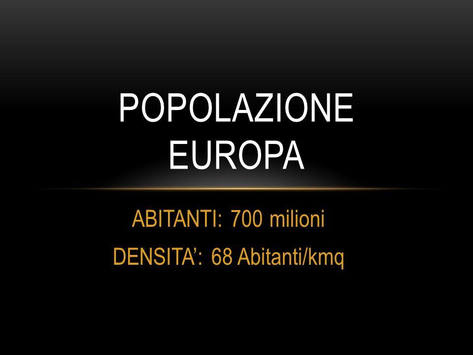 ABITANTI: 700 milioni DENSITA': 68 Abitanti/kmq POPOLAZIONE EUROPA