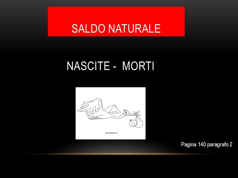 SALDO NATURALE NASCITE - MORTI Pagina 140 paragrafo 2