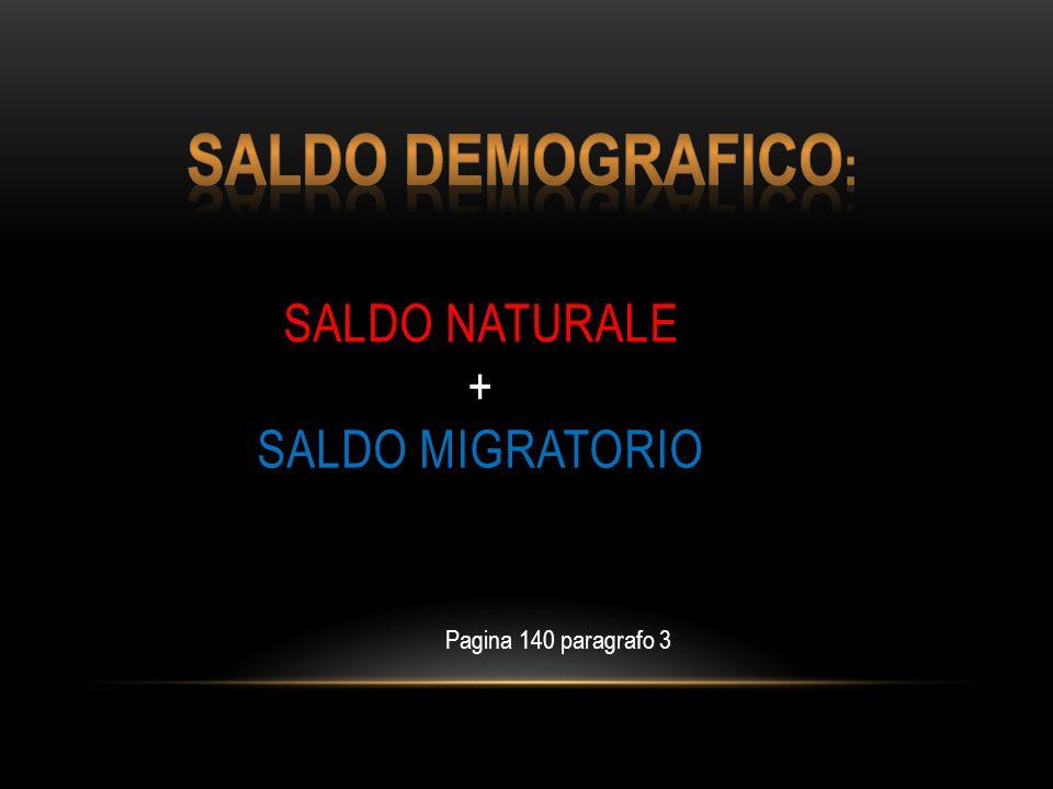 SALDO NATURALE + SALDO MIGRATORIO Pagina 140 paragrafo 3
