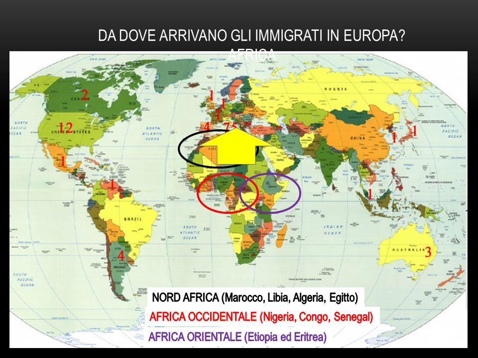 DA DOVE ARRIVANO GLI IMMIGRATI IN EUROPA AFRICA