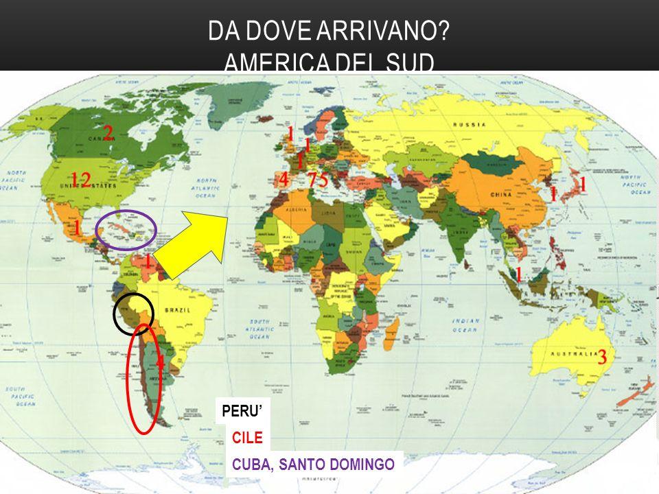 DA DOVE ARRIVANO AMERICA DEL SUD PERU' CILE CUBA, SANTO DOMINGO