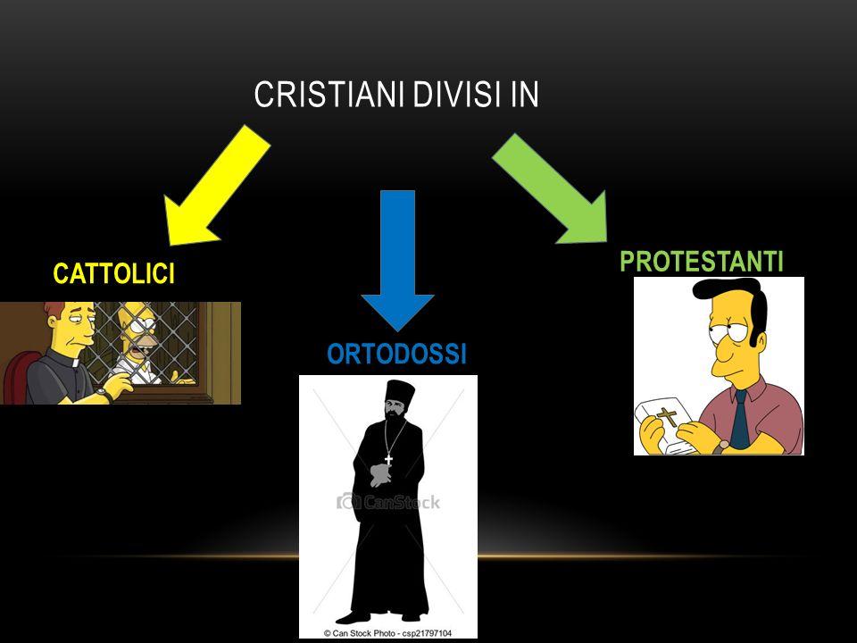 CRISTIANI DIVISI IN CATTOLICI PROTESTANTI ORTODOSSI