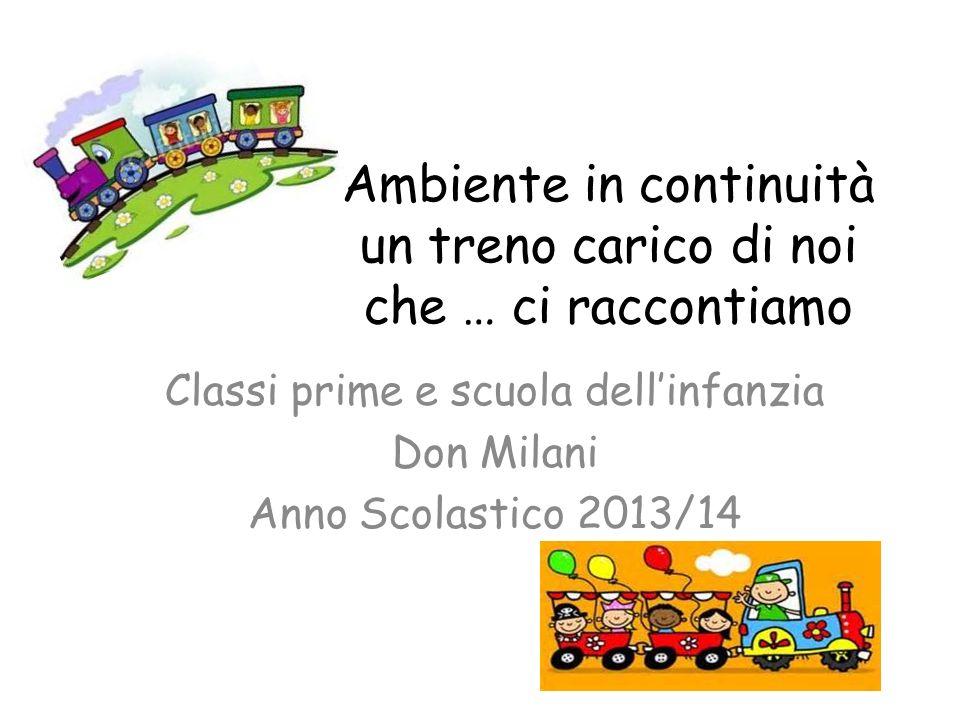 Ambiente in continuità un treno carico di noi che … ci raccontiamo Classi prime e scuola dell'infanzia Don Milani Anno Scolastico 2013/14