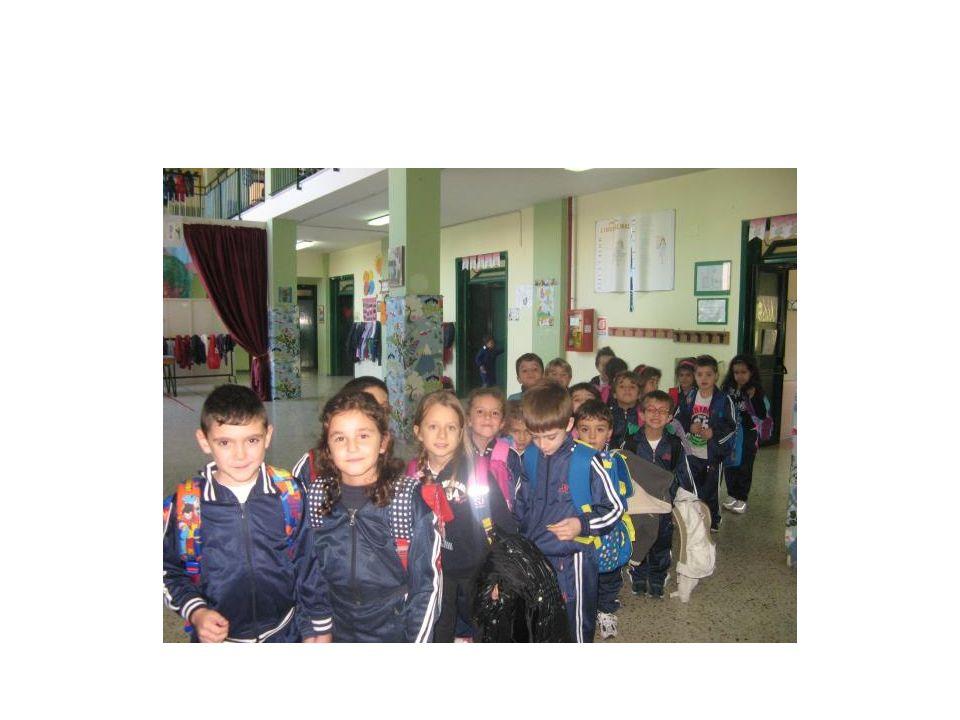 Tutti in fila, guidati dagli insegnanti e armati della tipica curiosità dei bambini …