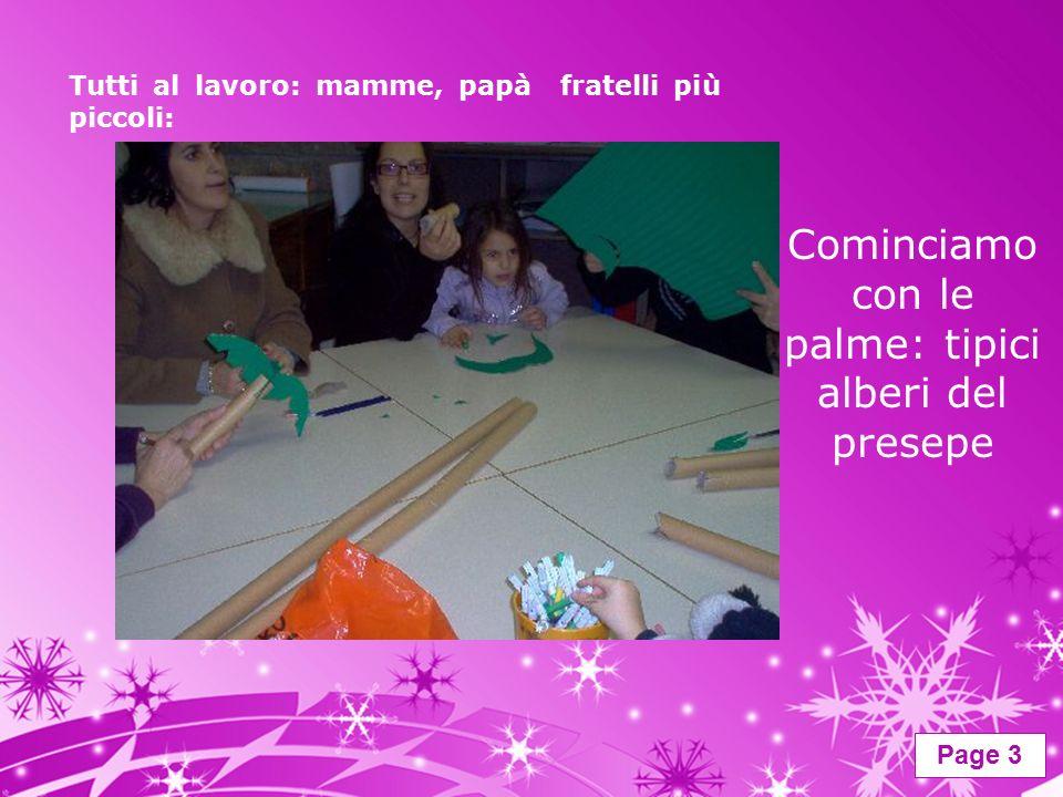 Page 3 Tutti al lavoro: mamme, papà fratelli più piccoli: Cominciamo con le palme: tipici alberi del presepe
